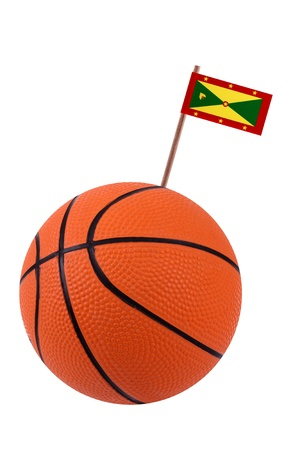 Volley-ball decorated with a small paper national flag of Grenada on a tooth stick photo