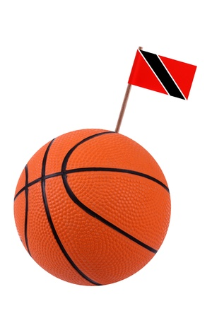 national flag trinidad and tobago: Volley-ball decorated with a small paper national flag of Trinidad and Tobago on a tooth stick