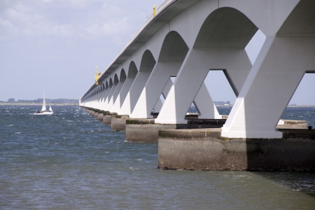 The Zeeland Bridge is the longest bridge in the Netherlands. The bridge spans the Oosterschelde estuary.
