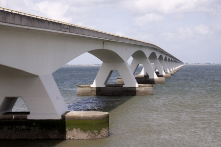 The Zeeland Bridge is the longest bridge in the Netherlands. The bridge spans the Oosterschelde estuary.