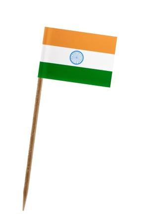 Tandenstoker wit een klein papieren vlag van India