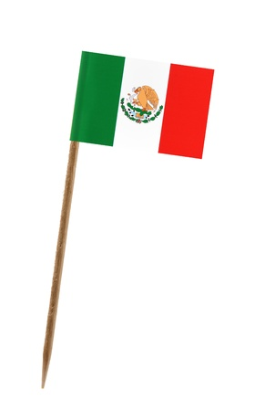 Tooth pick wit a small paper flag of Mexico