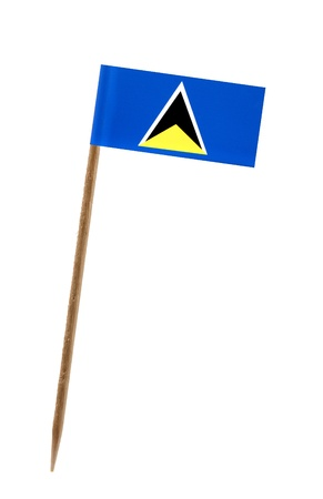 st lucia: Tooth pick wit a small paper flag of St. Lucia