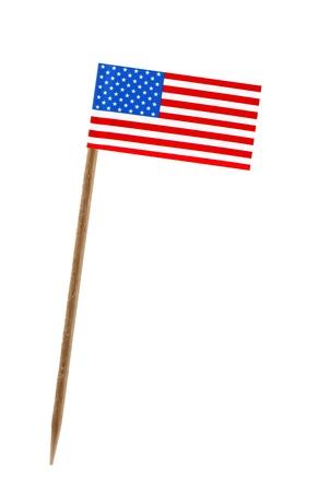 Tandenstoker wit een klein papieren vlag van de Verenigde Staten van Amerika, de VS Stockfoto