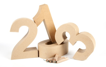 Paper numbers  and fire crackers forming 2013 as for the new year