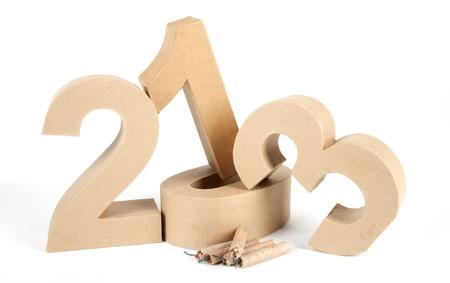 Papier nummers en brand crackers vorming 2013 als voor het nieuwe jaar
