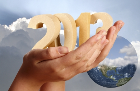 2013 in numbers and loving hands keeping it Stock Photo - 16693033