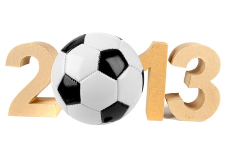 2013 in numbers and a soccer ball Stock Photo - 16693014