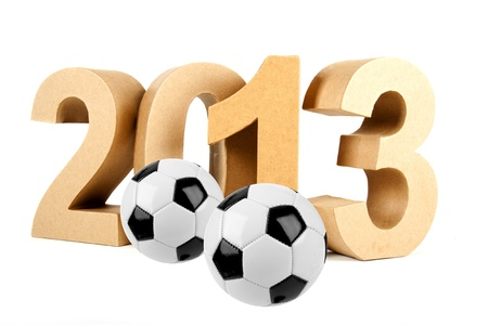 2013 in numbers and a soccer ball Stock Photo