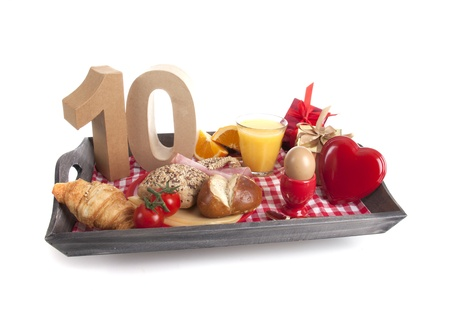 Happy birthday breakfast on a tray Stock Photo - 17019082