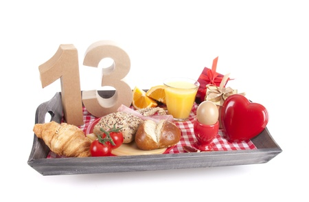 Happy birthday breakfast on a tray Stock Photo - 17019050