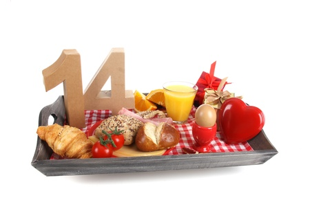 number 14: Happy birthday breakfast on a tray Stock Photo