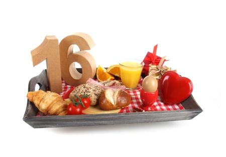 number 16: Happy birthday breakfast on a tray Stock Photo