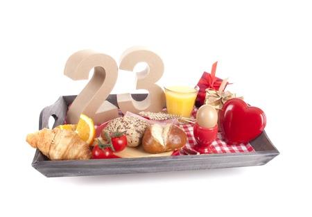 20 23 years: Happy birthday breakfast on a tray Stock Photo