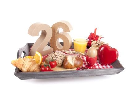 Happy birthday breakfast on a tray Stock Photo - 17038413