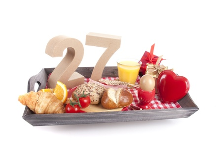 Happy birthday breakfast on a tray Stock Photo - 17019072