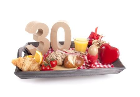 Happy birthday breakfast on a tray photo
