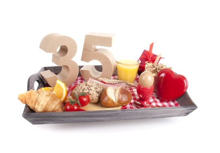 Happy birthday breakfast on a tray Stock Photo - 17038410
