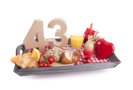 Happy birthday breakfast on a tray Stock Photo - 17019053