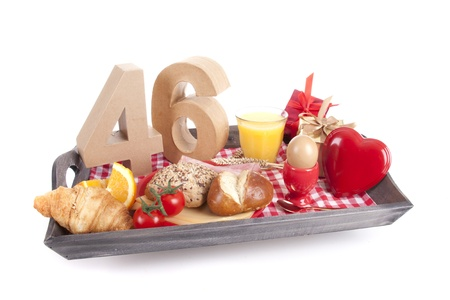 Happy birthday breakfast on a tray photo