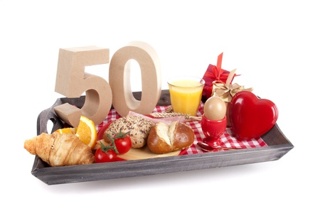 Happy birthday breakfast on a tray Stock Photo - 17038454
