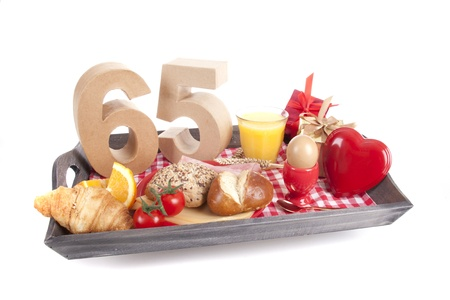 Happy birthday breakfast on a tray Stock Photo - 17038446
