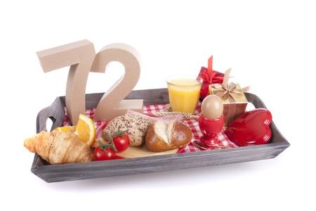 seventy two: Happy birthday breakfast on a tray Stock Photo