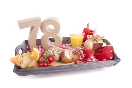 Happy birthday breakfast on a tray Stock Photo - 17019085