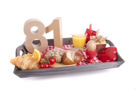 Happy birthday breakfast on a tray Stock Photo - 17019054