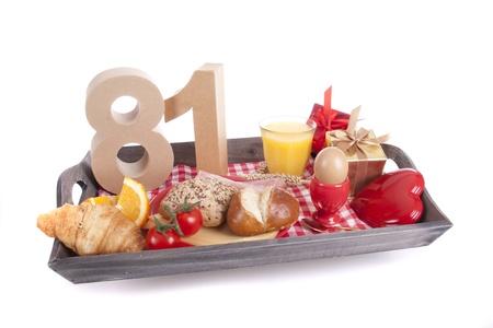 Happy birthday breakfast on a tray Stock Photo - 17019054