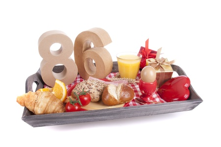 Happy birthday breakfast on a tray Stock Photo - 17038414