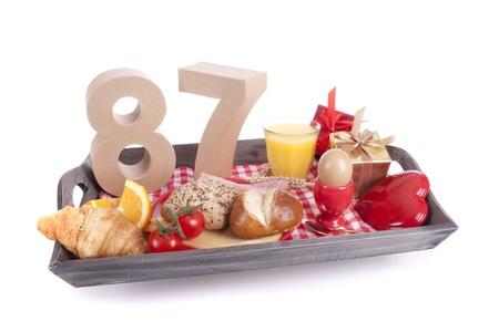 eighty: Happy birthday breakfast on a tray Stock Photo