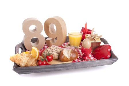 Happy birthday breakfast on a tray Stock Photo - 17038421