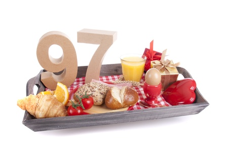 Happy birthday breakfast on a tray Stock Photo - 17019075
