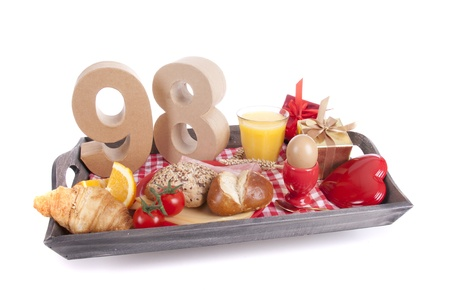 Happy birthday breakfast on a tray Stock Photo - 17038441