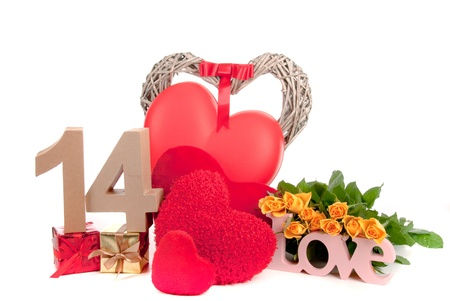 number 14: Number of age in a colorful studio setting with heart and gifts and yellow roses
