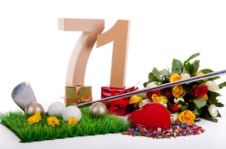 Roses, a golf club and golf balls on an artificial peace of grass to be used as a birthday card Stock Photo - 18744536