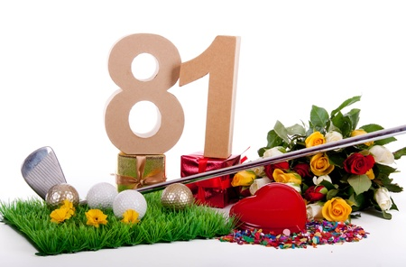 Roses, a golf club and golf balls on an artificial peace of grass to be used as a birthday card Stock Photo - 18744549