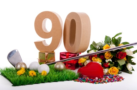 Roses, a golf club and golf balls on an artificial peace of grass to be used as a birthday card Stock Photo - 18744658