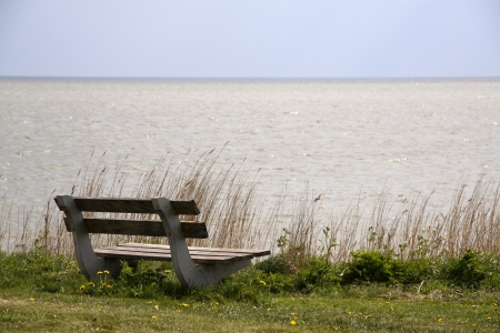 markermeer: Bench for two on a border