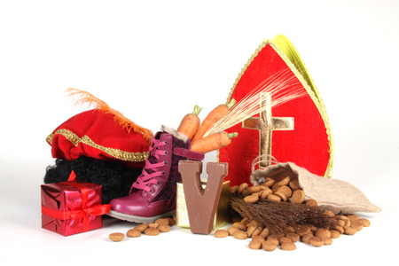 Celebrants of the Sinterklaas celebration are given their initials made out of chocolate. Stock Photo