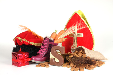 '5 december': Celebrants of the Sinterklaas celebration are given their initials made out of chocolate. Stock Photo