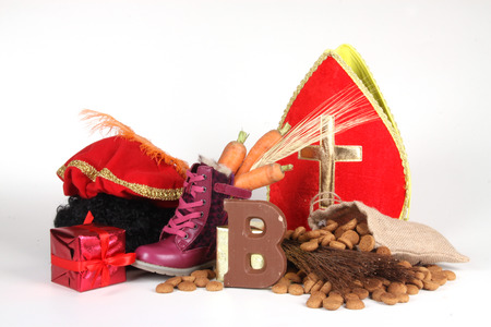 sinterklaas: Celebrants of the Sinterklaas celebration are given their initials made out of chocolate. Stock Photo