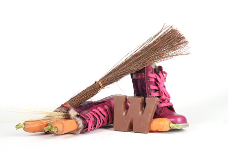 black pete: Celebrants of the Sinterklaas celebration are given their initials made out of chocolate. Stock Photo