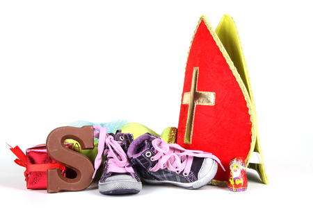 Celebrants of the Sinterklaas celebration are given their initials made out of chocolate. 写真素材