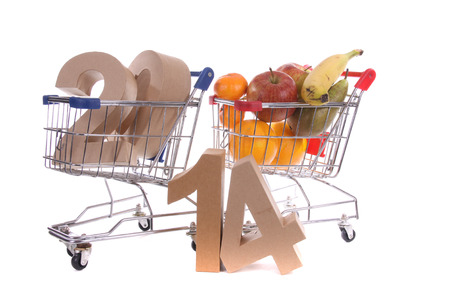 Shopping cart with products of the fall Stock Photo - 24051266