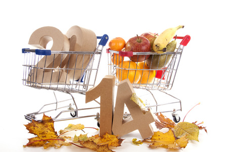 two thousand and fourteen: Shopping cart with products of the fall