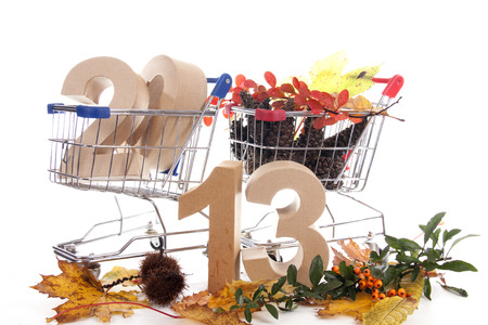 Shopping cart with products of the fall Stock Photo - 24051270