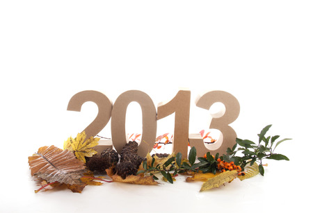 turns of the year: Year in numbers with autumn leaves and other product for New Year
