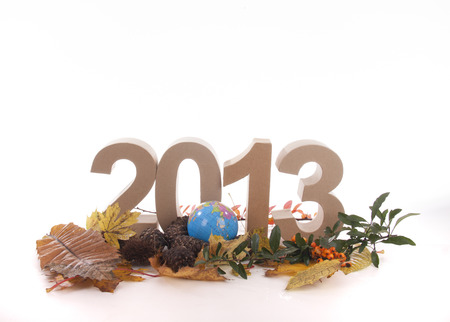 mondial: Year in numbers with autumn leaves and other product for New Year